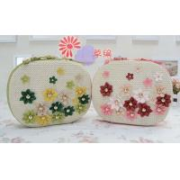 Wholesale Rivet PU small flower straw cross-body beach bag, female beach tote bag from china suppliers