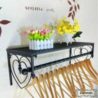 Wholesale wrought iron clothing display shelves wall rack from china suppliers