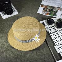 Wholesale Cheap Best Beauty Flat Top Ladies Sun Protection Summer Straw Hats 56-58cm With Flower Ribbon from china suppliers