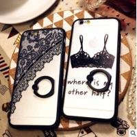 Wholesale Personality Black Lace Cell Phones Covers Cases Painted With Stand Holder IPhone 6 from china suppliers