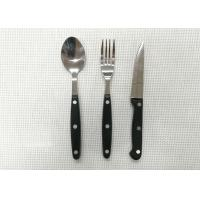 Buy cheap Plastic Handle Stainless Steel Flatware Sets of 3 Pieces Knife Fork and Spoon Length 20cm from wholesalers