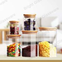 Wholesale Top Sale Clear Borosilicate Glass Candy Jars With Wooden Lid from china suppliers