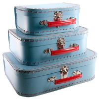 China Customized Gift Boxes, Childrens Paper Suitcase Blue Color Embossed, Gloss Finishing on sale