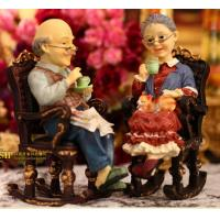Wholesale Coloured drawing or pattern resin wedding gift a couple on the rocking chair from china suppliers