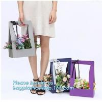 China Custom paper bag with handle coated white paper bag printing pattern flower carrier bag,Flower carrier paper bags with d on sale