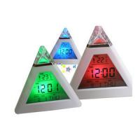 Wholesale Pyramid shape clock, led clock with temperature function, promotional digital table clock from china suppliers