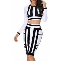 Wholesale Glamorous Two Piece Bandage Dress Vertical Stripes For Modern Girls from china suppliers