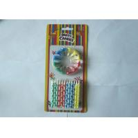 Wholesale Birthday Celebration Colored Pillar Candles Striped 12 Pcs Per Set With Holders from china suppliers