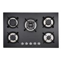 Wholesale Insert Black Gas Hob 5 Burner With Stainelss Steel / Tempered Glass Top from china suppliers