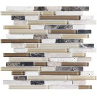 Wholesale Random Mix Stone And Glass Kitchen Backsplash Mosaic Tiles Linear Type from china suppliers