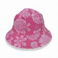 Wholesale Kids Bucket Hat with Floral All-over Print and 6 Panels, Made of 100% Cotton Poplin from china suppliers
