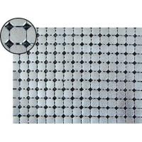 A piece of metallic fabric cloth with 8mm flat octagon shape and dull polished silver color.