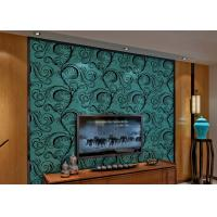 Wholesale Luxury Soundproof Velvet Flock Wallpaper / 3D Wall Covering With 0.7*10M Size , Eco Friendly from china suppliers