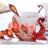 Wholesale ceramic hand-drawing cup peacock shape from china suppliers