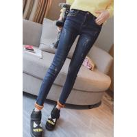 Wholesale Knee Patches Womens Skinny Jeans , Women Embroidered Pocket Corduroy Jeans from china suppliers