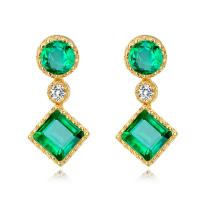 Wholesale Gold Real Gemstone Jewelry , Green Fashion Emerald Drop Earrings With Diamond from china suppliers