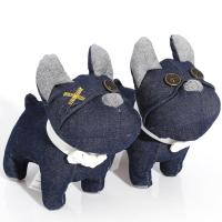 "Quality Unique Recycle-crafts denim toys 8"" bull dog for Valentine's Day gifts for sale"
