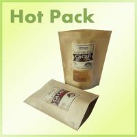 Wholesale Lined Pantone Brown Kraft Paper Stand Up Pouch Bags With Clear Window from china suppliers