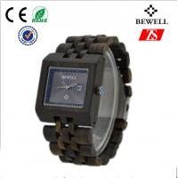 Wholesale Smooth Surface Wooden Wrist Watch , Square Shape Wood Band Watch from china suppliers