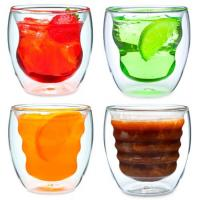 Wholesale Set of 4 Curva Artisan Series Unique Double Wall Thermo Insulated Beverage Drinking Glasses cup and Tumblers 8 oz from china suppliers