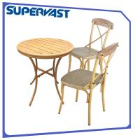 Wholesale 3 Piece Outdoor Bar Height Bistro Set , Bistro Table & Chairs Sets With Hand Brush from china suppliers