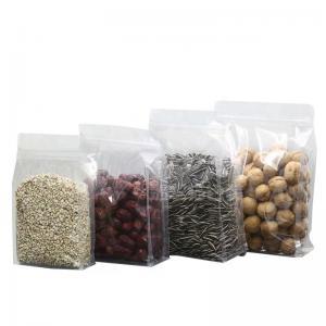 China Food Packaging Zipper Transparent Resealable Plastic Bags Food Grade Flat Bottom Zip Lock Plastic Clear Bag on sale