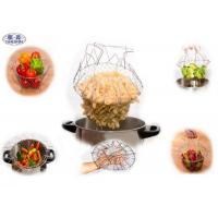 Wholesale Stainless Steel Foldable Chef Basket Kitchen Steam Rinse Flexible Strainer from china suppliers