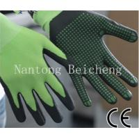 Wholesale Green 13Gauge Nitrile Work Gloves Dot Anti-slip For Metal Treating from china suppliers