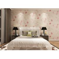 Wholesale Eco - friendly Light Pink Country Floral Wallpaper , Bedding Room Vinyl Wall Coverings from china suppliers