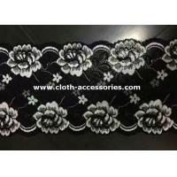 Wholesale Embroidered Metallic Lace Trim / Rose White , Black Floral Lace Fabric from china suppliers