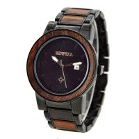 Wholesale Luxury Metal and Red Sandalwood Wristwatch / Men Wooden Watches For Festival Gift from china suppliers