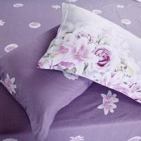 Quality Wholesale Pure Cotton Purple Flower Queen King Size Bedding Sets for sale