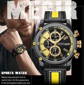 Buy cheap Wholeale Brand New Megir Men Genuine Leather Band Chronograph Luminous Men Casual Quartz Sport Watch 2079G from wholesalers