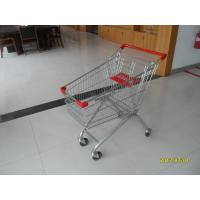 Quality Big 100L Grocery / Supermarket Shopping Carts With 4 Swivel Flat Wheels for sale