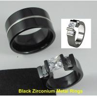 Wholesale Tagor Jewelry Made Customize Shiny Brushed Wedding Engagement Black Zirconium Rings from china suppliers
