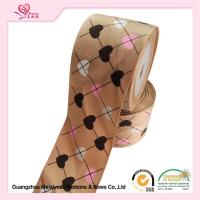 Quality 2 Inch Custom Printed Grosgrain Ribbon ,  Heart Shape Printed Designer Grosgrain Ribbon for sale
