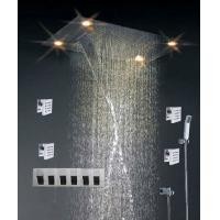 Wholesale High - End Color Changing Ceiling Mounted Rain Shower Head With Body Jet , Square Shape from china suppliers