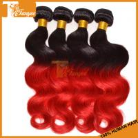 Wholesale 18inch 5A Ombre Hair Two Tone 1b/RED Brazilian Body Wave Human Hair Extension from china suppliers