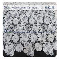 Wholesale Mesh polyester lace Fabric White Flower  Embroidered Lace material for girls dress from china suppliers
