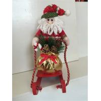 Wholesale Forest style santa and snowman in sleigh with gift indoor Christmas decoration from china suppliers