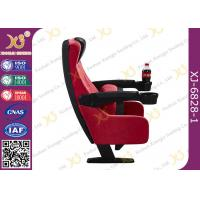 Quality Tipping Seat Plastic Components PU Cinema Theater Chairs With Drink Holder for sale