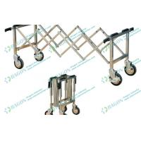 Quality Silver Stainless Steel Funeral Equipment Folding mortuary Trolley with Four Handles for sale