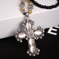 Wholesale Factory jewelry Direct Sale  popular new black bead opal cross necklace with long chain from china suppliers