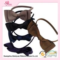 Quality Brown Grosgrain Ribbon Blittle girl headbands With Plastic Hair Band For Girls for sale