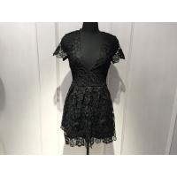 Wholesale Slim Fitting Women Black Lace Dresses , Deep V Neck Dresses Short Sleeve from china suppliers