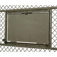 A metal sheet hinged service window is mounted in a wire mesh panel, and it is clinched to the frame by two butt hinges.