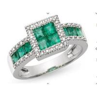 Wholesale Ring(10K White Gold Ring Emerald and Diamond) from china suppliers