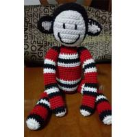 Wholesale Promotional Customized Stuffed Jacquard Red White Black Striped Knitted Monkey Animal Toy from china suppliers