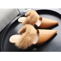 Wholesale Khaki Dressy Low Heel Mules , High End Fur Strap Suede Slip On Mule Heels from china suppliers