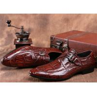Wholesale Mens Single Monk Strap Shoes , Moc Toe Dress Shoes With Embossed Crocodile Pattern from china suppliers